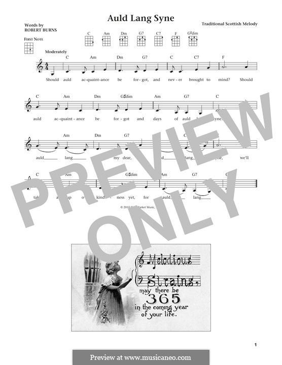 Auld Lang Syne: For ukulele by folklore