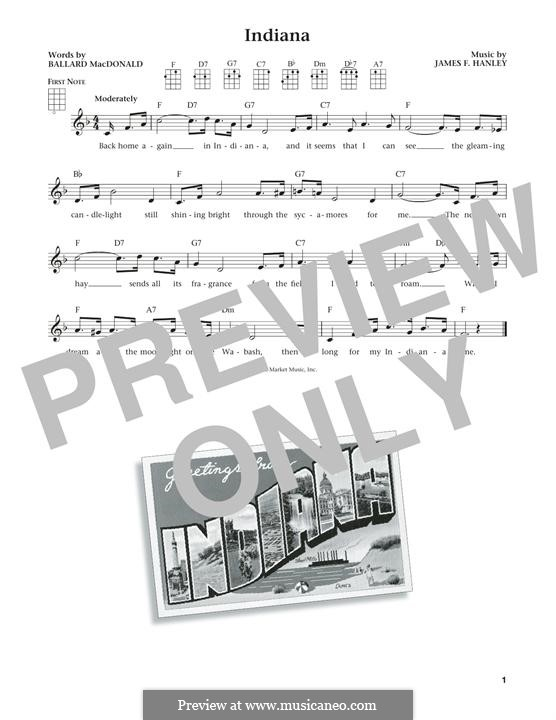 Indiana (Back Home Again in Indiana): For ukulele by James Frederick Hanley