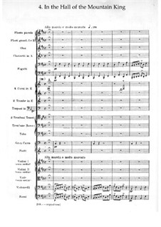 Suite No.1. In the Hall of the Mountain King, Op.46 No.4: Full score by Edvard Grieg