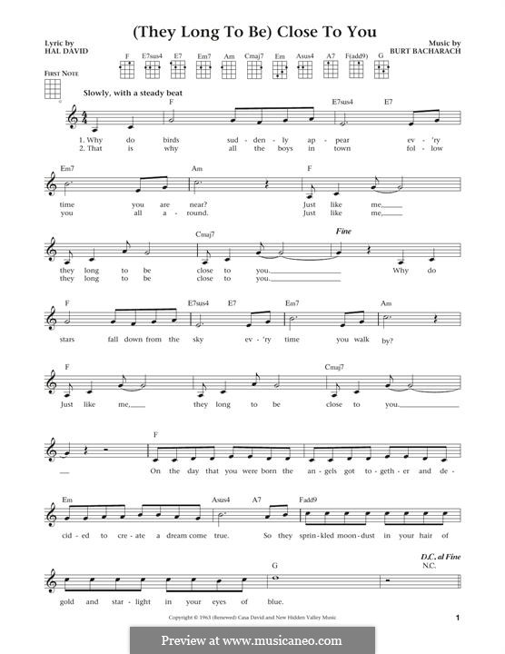 Close to You (They Long to be): For ukulele by Burt Bacharach
