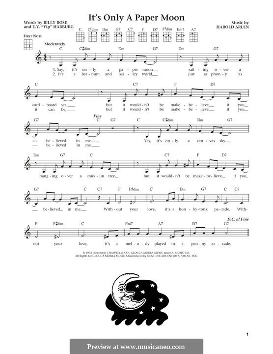 It's Only a Paper Moon: For ukulele by Harold Arlen