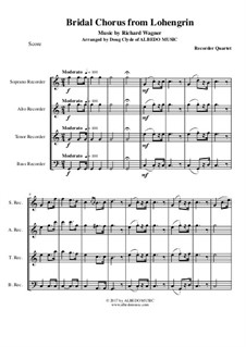 Bridal Chorus: For recorder quartet by Richard Wagner