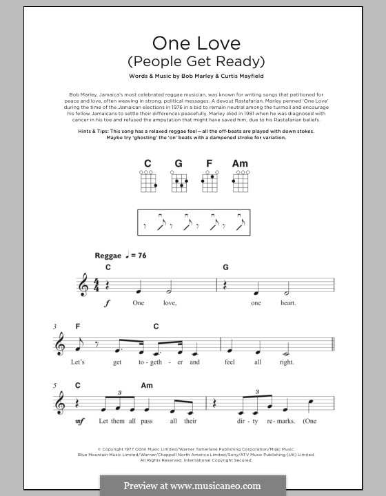 One Love / People Get Ready: For ukulele by Bob Marley, Curtis Mayfield