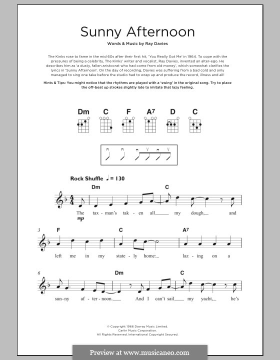 Sunny Afternoon (The Kinks): For ukulele by Ray Davies