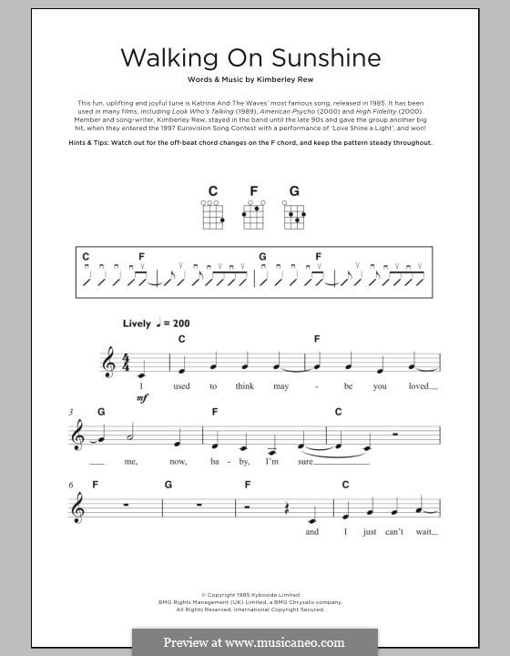 Walking on Sunshine (Katrina and The Waves): For ukulele by Kimberley Rew