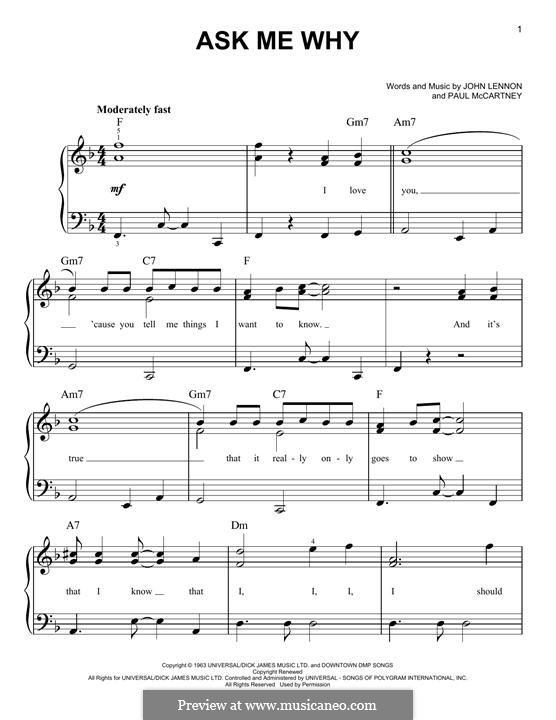 Ask Me Why (The Beatles): For piano by John Lennon, Paul McCartney