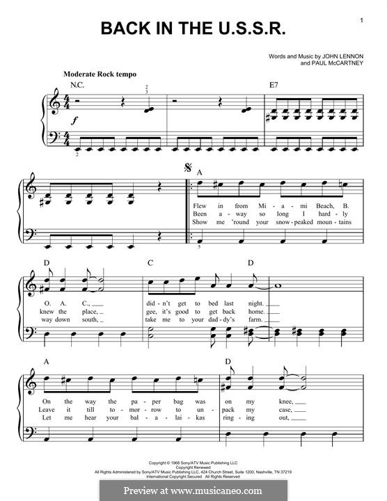 Back in the USSR (The Beatles): For piano by John Lennon, Paul McCartney