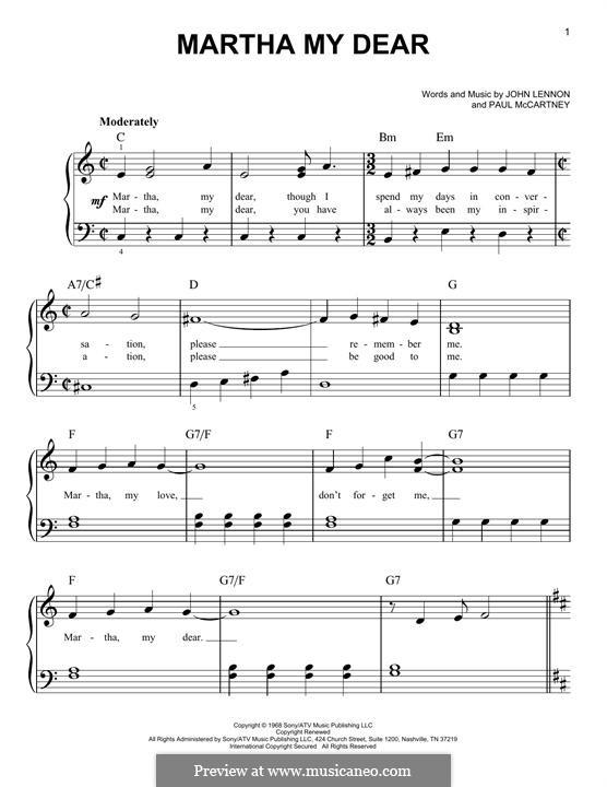 Martha My Dear (The Beatles): For piano by John Lennon, Paul McCartney
