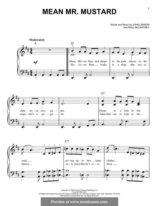 Mean Mr. Mustard (The Beatles): For piano by John Lennon, Paul McCartney