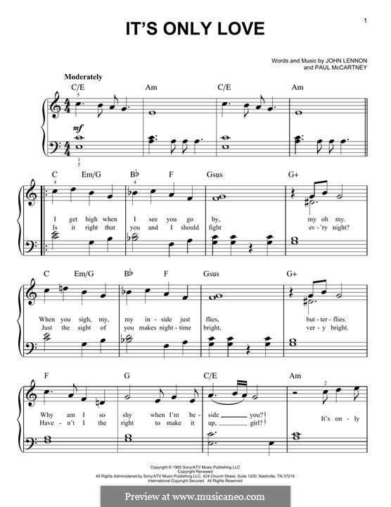 It Won't Be Long (The Beatles): For piano by John Lennon, Paul McCartney