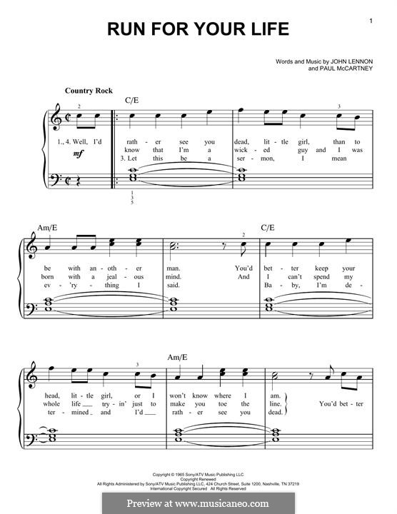 Run for Your Life (The Beatles): For piano by John Lennon, Paul McCartney