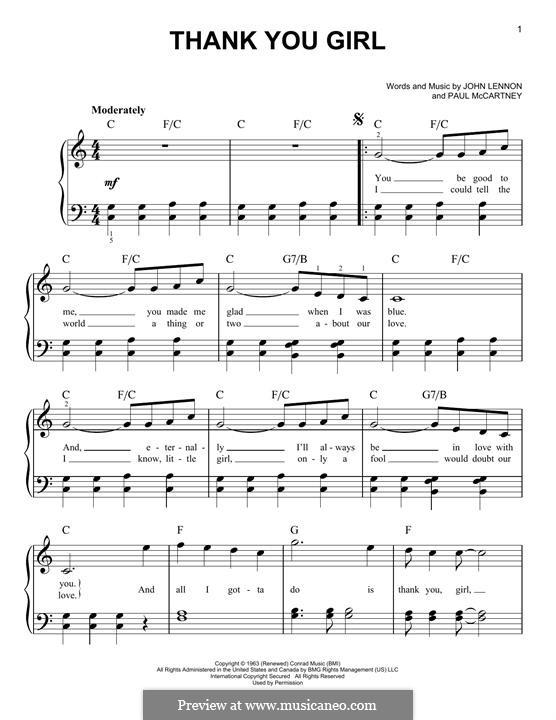 Thank You Girl (The Beatles): For piano by John Lennon, Paul McCartney