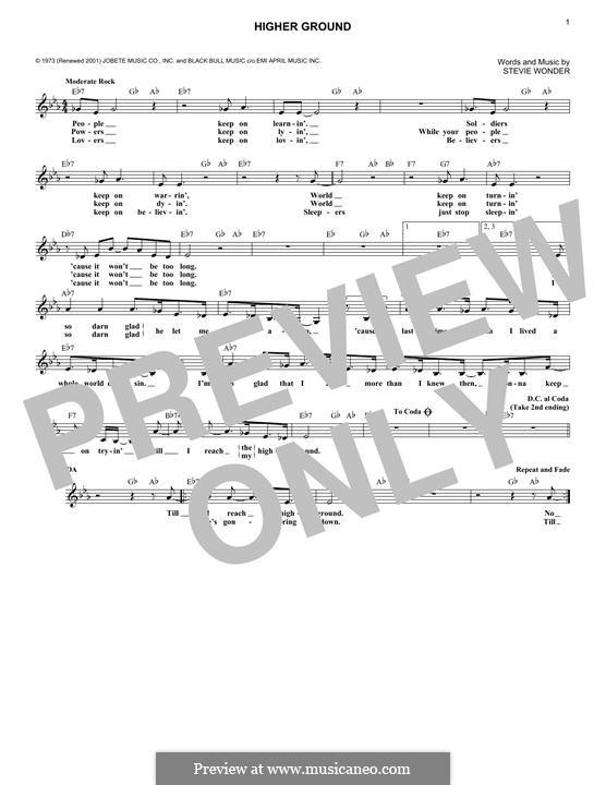 Higher Ground: Melody line by Stevie Wonder
