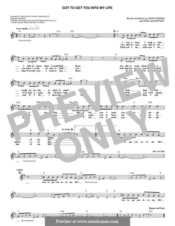 Got To Get You Into My Life (The Beatles): Melody line by John Lennon, Paul McCartney