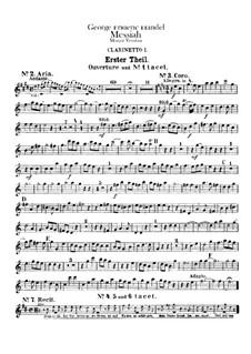 Complete Oratorio: Clarinets I, II parts by Georg Friedrich Händel