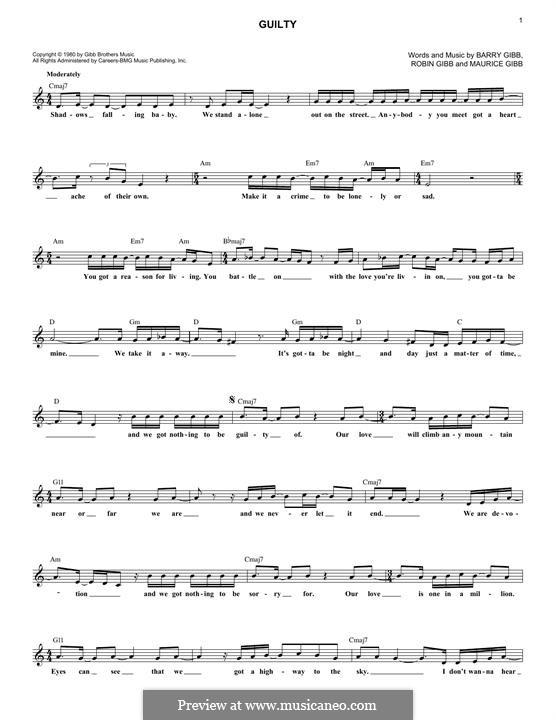 Guilty (Barbra Streisand): Melody line by Barry Gibb, Maurice Gibb, Robin Gibb