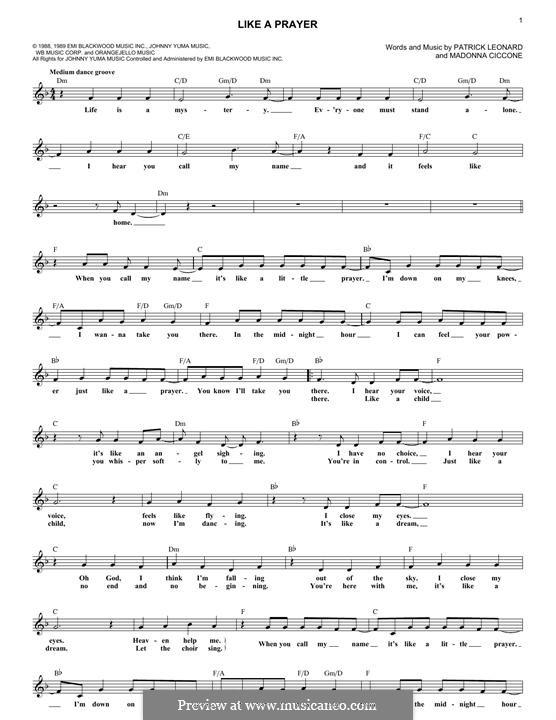 Like a Prayer: Melody line by Madonna, Patrick Leonard