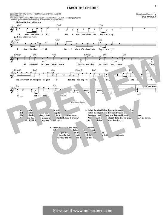 I Shot the Sheriff: Melody line by Bob Marley