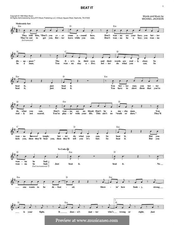 Beat It: Melody line by Michael Jackson