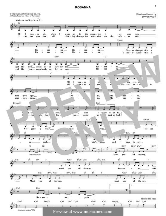 Rosanna (Toto) by D. Paich - sheet music on MusicaNeo