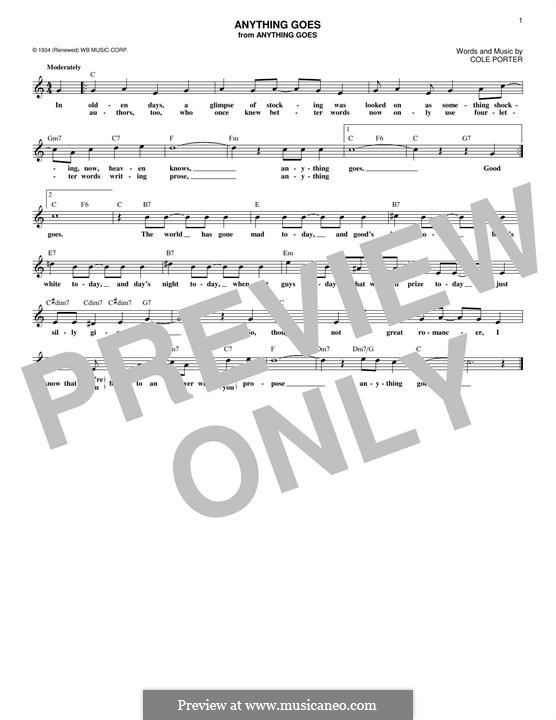 Anything Goes: Melody line by Cole Porter