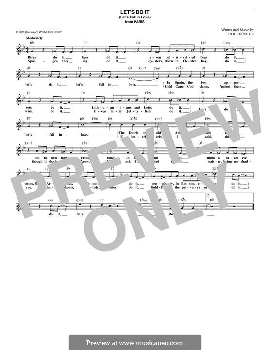 Let's Do It (Let's Fall in Love): Melody line by Cole Porter