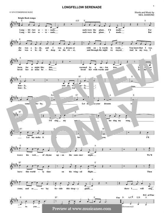 Longfellow Serenade: Melody line by Neil Diamond