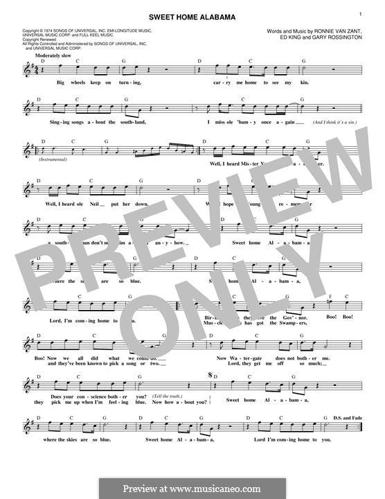 Sweet Home Alabama (Lynyrd Skynyrd): Melody line by Ed King, Gary Rossington, Ronnie Van Zant