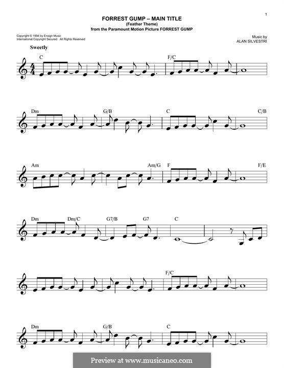 Forrest Gump Suite (Theme): Melody line by Alan Silvestri