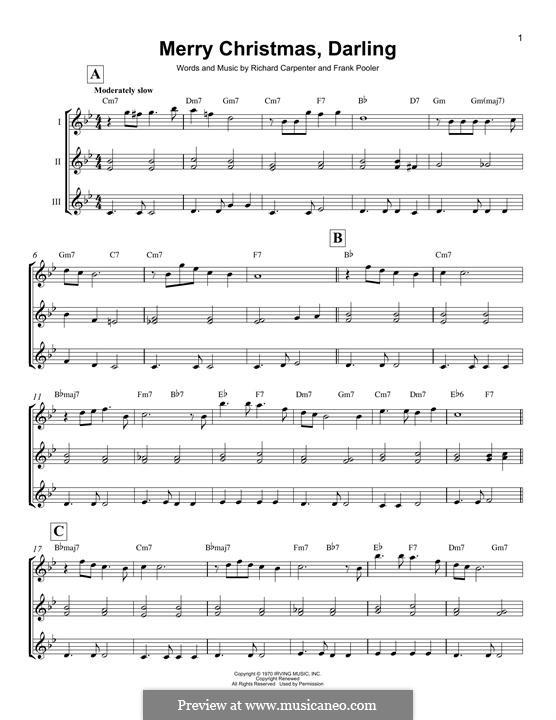 Merry Christmas, Darling (Carpenters): For ukulele by Frank Pooler, Richard Carpenter