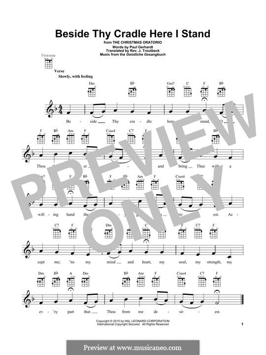 Beside Thy Cradle Here I Stand: For ukulele by Unknown (works before 1850)