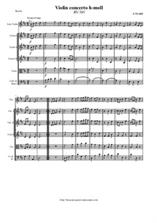 Concerto for Violin and Strings in B Minor, RV 385: Score and parts by Antonio Vivaldi