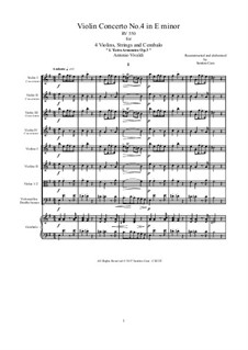 Concerto for Violin and Strings No.4 in E Minor, RV 550: Score, parts by Antonio Vivaldi
