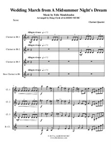 Wedding March: For clarinet quartet by Felix Mendelssohn-Bartholdy