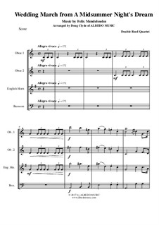 Wedding March: For double reed quartet by Felix Mendelssohn-Bartholdy