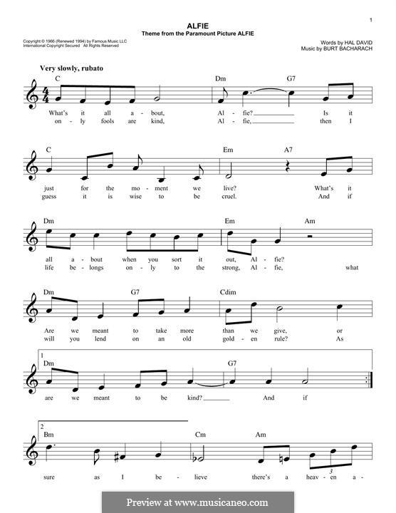 Alfie: Melody line by Burt Bacharach