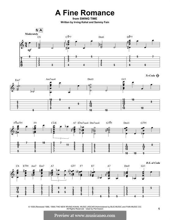 A Fine Romance: For guitar with tab by Jerome Kern