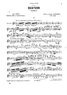 Piano Quartet in B Minor: Violin part by Guillaume Lekeu