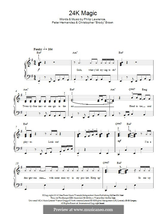24K Magic: For piano by Christopher Brown, Bruno Mars, Philip Lawrence