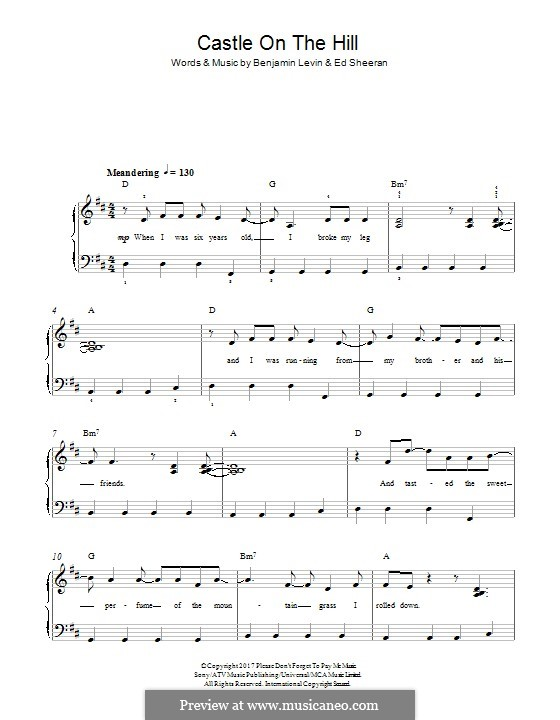 Castle on the Hill: For piano by Ed Sheeran, Benjamin Levin