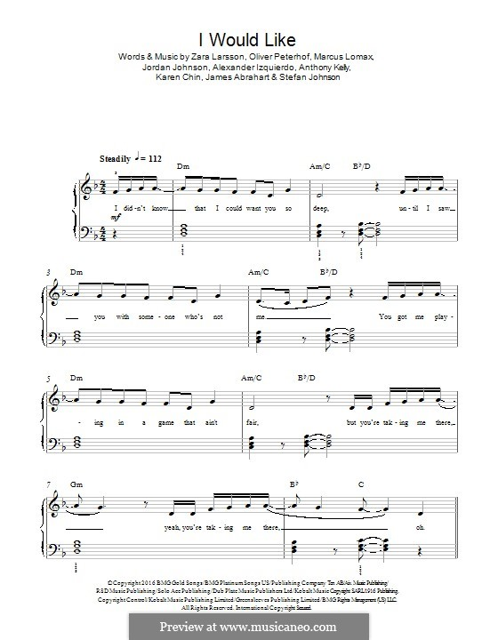 I Would Like (Zara Larsson): For piano by James Abrahart Jr., Marcus Lomax, Stefan Johnson, Jordan Johnson, Zara Larsson, Alexander Izquierdo