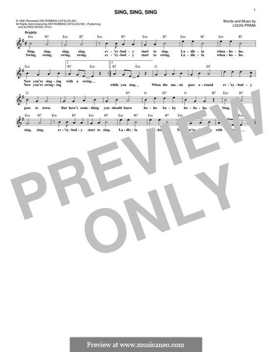 Sing, Sing, Sing (Benny Goodman): Melody line by Louis Prima