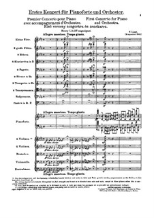 Piano Concerto No.1, S.124: Full score by Franz Liszt