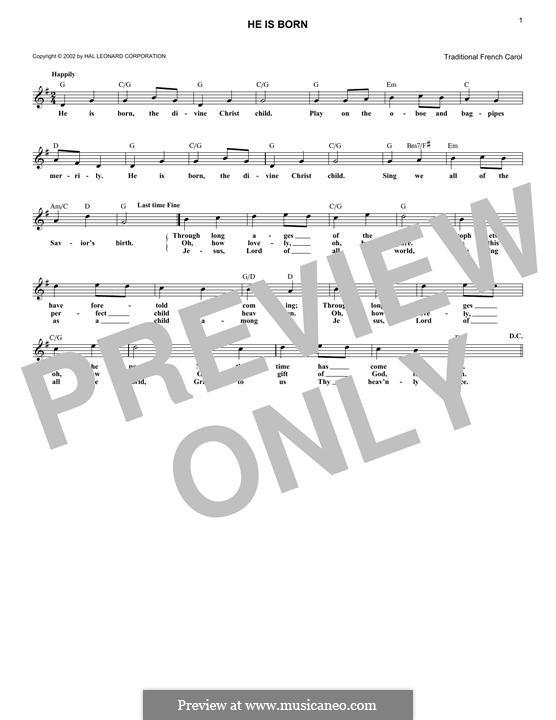 He Is Born, the Holy Child (Il est ne, le divin enfant): Melody line by folklore