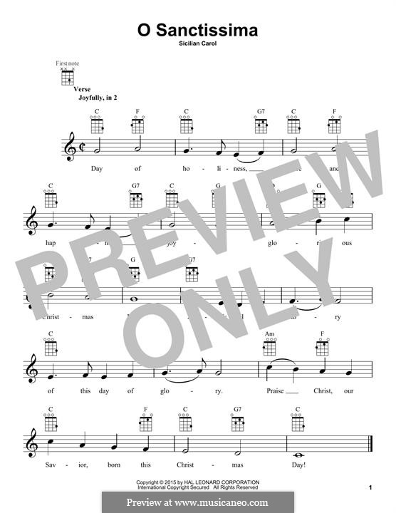 O Sanctissima (Oh, How Joyfully): For ukulele by folklore
