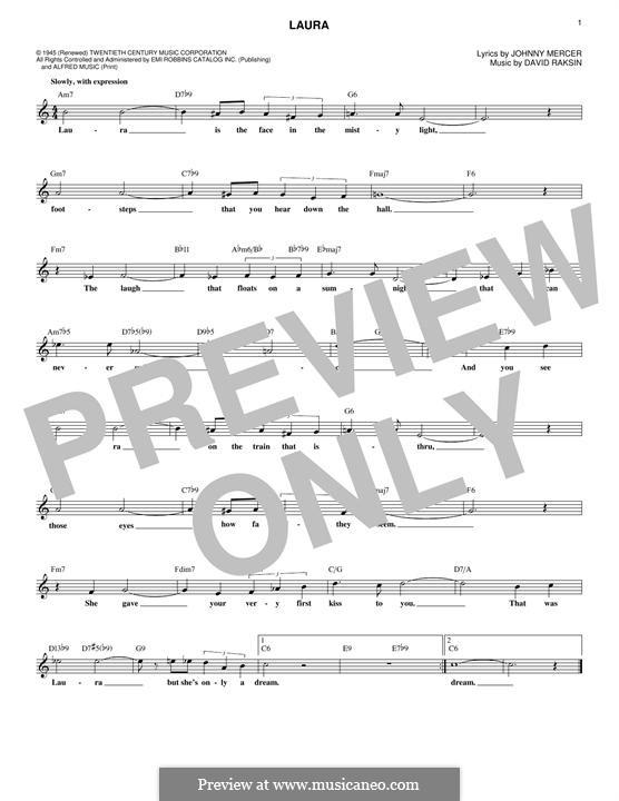 Laura (Frank Sinatra): Melody line by David Raksin
