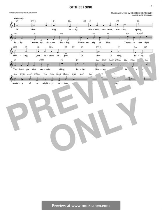 Of Thee I Sing: Melody line by George Gershwin