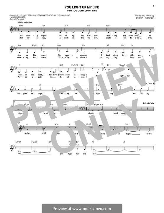 You Light Up My Life: Melody line by Joseph Brooks