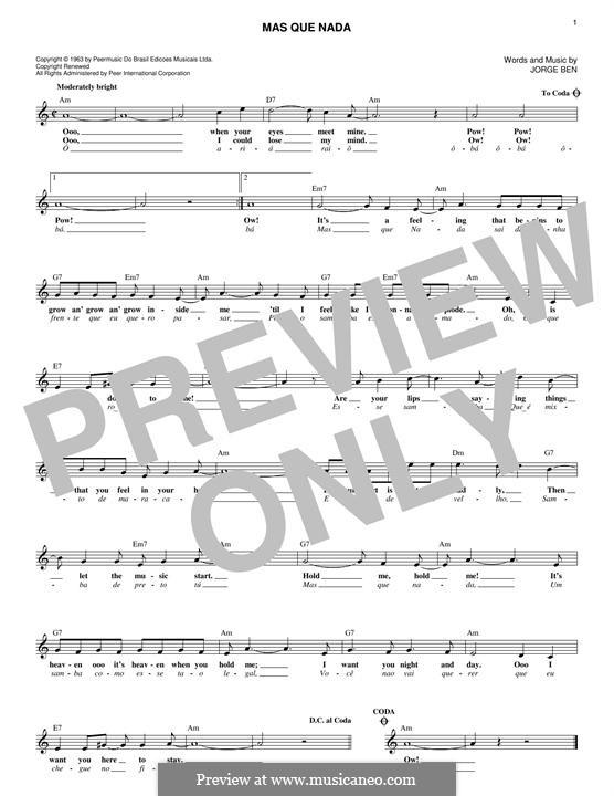 Mas Que Nada (Say No More): Melody line by Jorge Ben