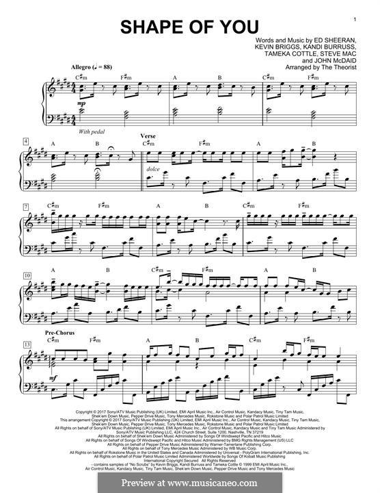 Shape of You: For piano by Ed Sheeran, Steve Mac, John McDaid